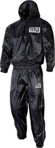 Title Pro Hooded Sauna Suit, Black, Large (Suit Sauna Title)