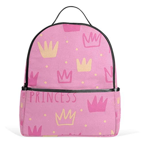 Pink Princess Crown School Chic Backpack Canvas Rucksack Large Capacity Satchel Casual Travel Daypack for Kids Girls Boys Children Students, 3-9 Years Old