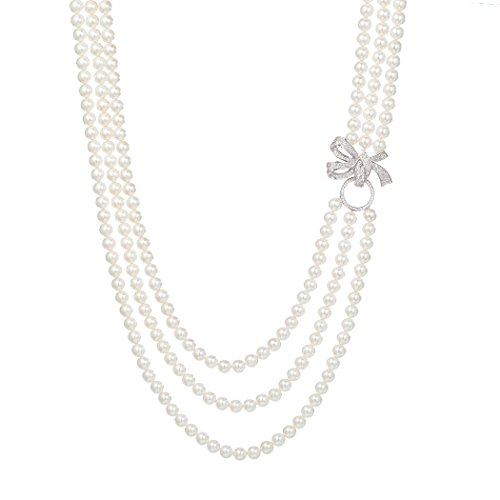 Romantic Time 3 Row White Shell Pearl and Sparkling Silver Pendant Necklace (White)