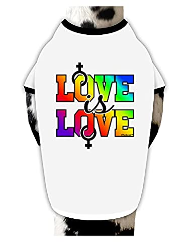 TooLoud Love Is Love Lesbian Pride Cotton Dog Shirt White with Black XL - Gay Pride Dog T-shirt
