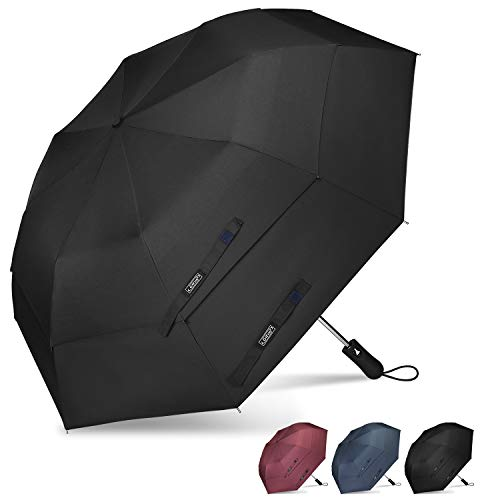- G4Free Compact Folding Golf Umbrella Extra Large 50-inch Double Canopy Vented Umbrellas Windproof Auto Open Collapsible Travel Umbrellas(Black)
