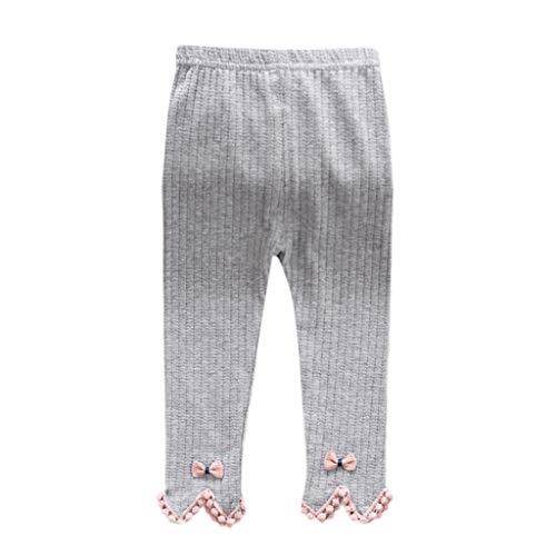 (ANJUNIE Lovely Newborn Baby Girl Stripe Skinny Bow Pants Cute Knit Stretchy Warm Leggings(1-Gray,70/6))