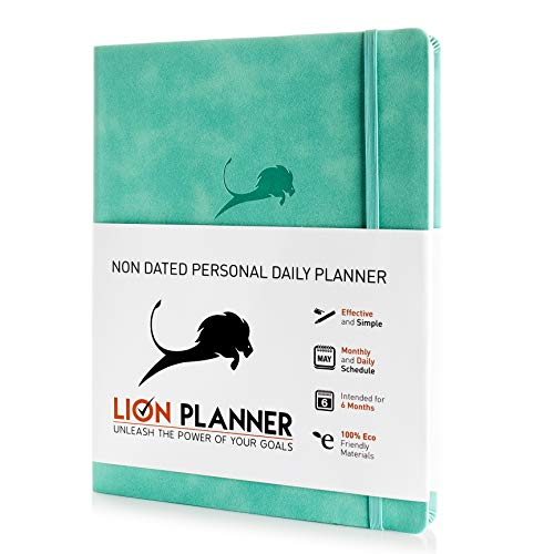 Day Planner, Calendar and Gratitude Journal to Increase Productivity, Time Management & Happiness - Vegan Leather Softcover, Undated 24-Hour Schedule a Day Life Planner - 6 Months (Turquoise, 8.5x11)