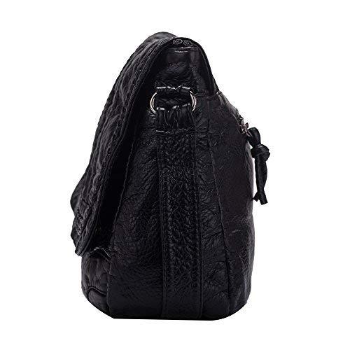 Borse a tracolla da donna in pelle Borse a tracolla casual lavato in PU per ragazze-Nero-1