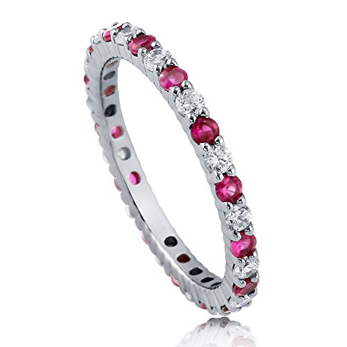 Diamond & Ruby Anniversary Ring - BERRICLE Rhodium Plated Sterling Silver Cubic Zirconia CZ Anniversary Eternity Band Ring Size 4