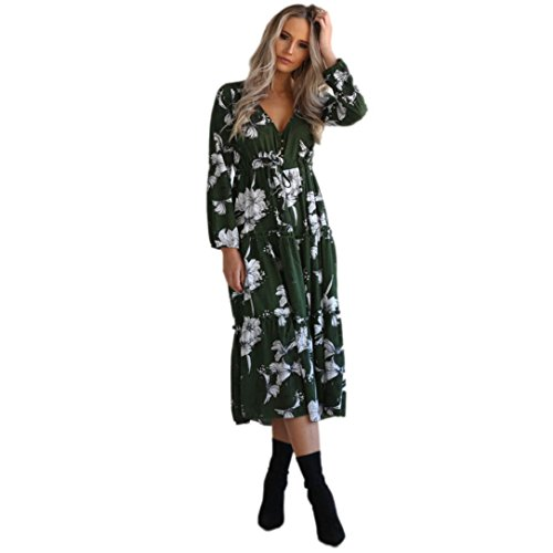Alimao 1PC Womens Autumn Boho Long Maxi LadiesFloral Casual Beach Party Dress (M, Green)