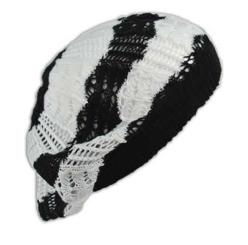 Snood Hat Crochet Hats - Womens Fashion Crochet Beanie Hat Knit Beret Skull Cap Tam (BK/WHT Multi)