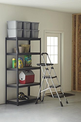 Three step steel ladder
