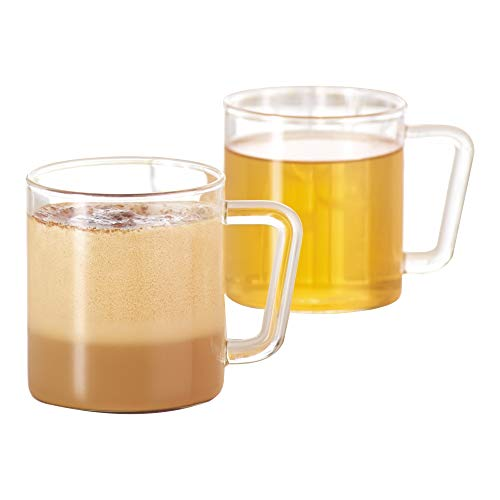 Borosil VCLM305 Vision Classic Large Mug [Set of 4] Clear Lightweight & Durable Drinkware, Drinking Mug For Coffee, Tea, or Latte, Heat Resistant, Dishwasher Safe |10 Ounce Cups]()