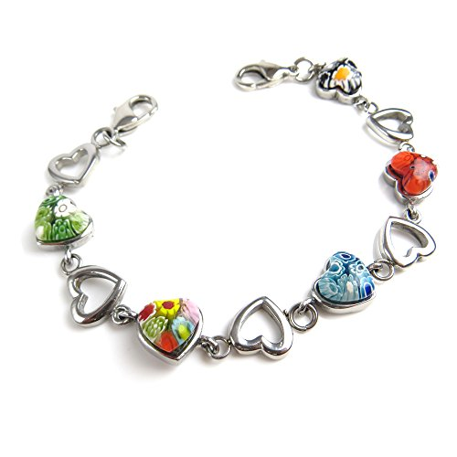 My Identity Doctor - Interchangeable Medical Bracelet Strand, Stainless Steel & Glass Mixed Color Hearts, 6.5 ()
