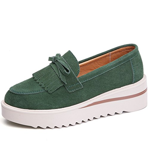 GilesJones Flats Loafers Women,Classic British Suede Fringe Round Toe Slip On Platform Shoes
