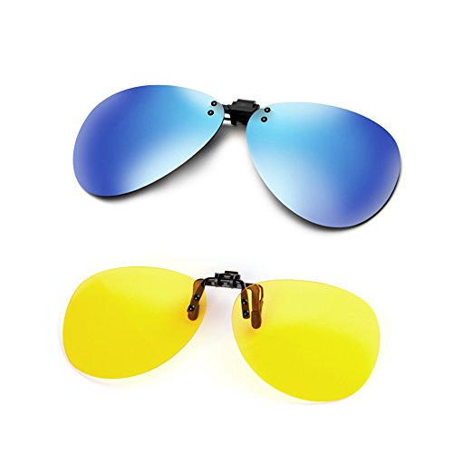 Cyxus [2 Pack] Aviator Flash Polarized Mirrored Lenses Classic Clip-On Sunglasses, [UV Protection] Driving/Fishing Eyewear, Mens & - Clip Sunglasses On Aviator