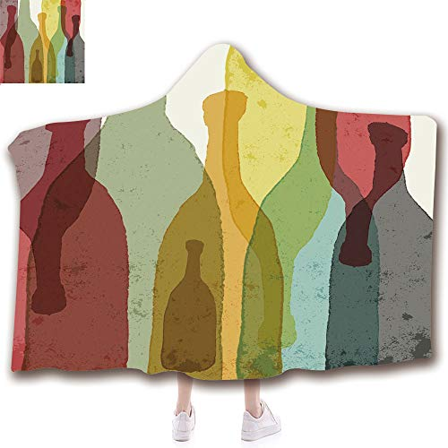 Fashion Blanket Ancient China Decorations Blanket Wearable Hooded Blanket,Unisex Swaddle Blankets for Babies Newborn by,Watercolor Silhouettes Bottles of Wine Whiskey,Adult Style Children Style