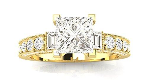 1.58 Ctw 14K Yellow Gold GIA Certified Princess Cut Gorgeous Prong Set Round And Half Bezel Baguette Diamond Engagement Ring, 1 Ct D-E VVS1-VVS2 Center ()