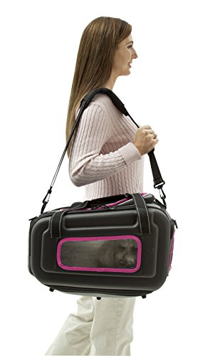 The Airline Approved Collapsible Lightweight Ergo Stow-Away Contoured Pet Carrier, Pink, Grey, One Size