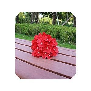 New 10pcs Artificial Silk Decorative Hydrangea Heads DIY Flower Head Silk Flower for Wedding Home Decoration Flower,Pure red 44