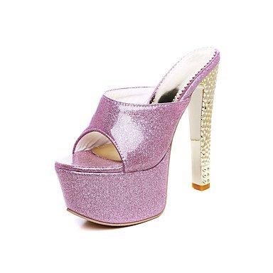LFNLYX Zapatillas de mujer & Flip-Flops Verano Confort Slingback PU boda vestido de noche y Stiletto talón Plata Oro Rojo Rosas caminando Red