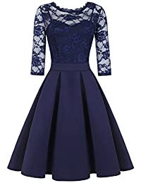 IHOT Women's Vintage 2/3 Sleeve Floral Lace Cocktail Bridesmaid Party Dress