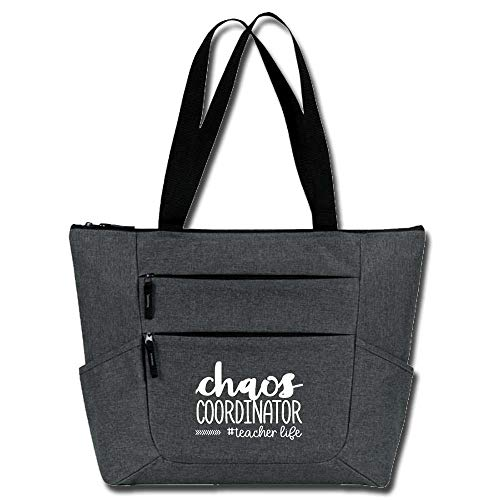 Chaos Coordinator #teacher life - Large Zippered Teacher Tote Bags with Pockets - Perfect for Work, Gifts for Teachers, Teacher Appreciation Day (Chaos Coordinator Gray)