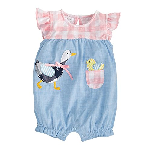- Mud Pie Baby Girls Goose Chambray Flutter Sleeve Bubble Romper Playwear, Pink, 3-6 Months
