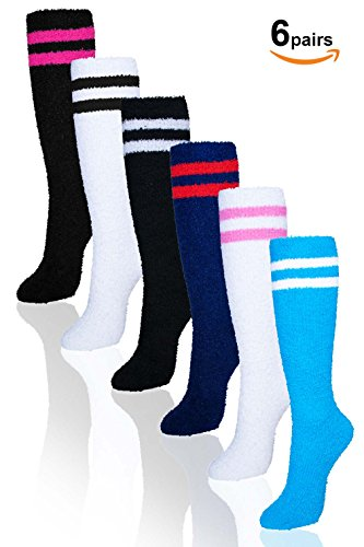 Basico Microfiber Fuzzy Winter Socks Knee High 6pairs(1pack) 6 Style (2 Line)