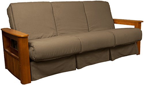Chicago Storage Arm Style Perfect Sit & Sleep Pocketed Coil Inner Spring Pillow Top Sofa Sleeper Bed, Queen-size, Medium Oak Arm Finish, Microfiber Suede Mocha Brown Upholstery