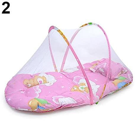 quysvnvqt Foldable Portable Infant Baby Travel Mosquito Net Crib Bed Tent with Pillow for Home Use Pink