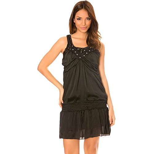 Miss Wear Line - Robe noir effet satiné, avec col brodé à clou