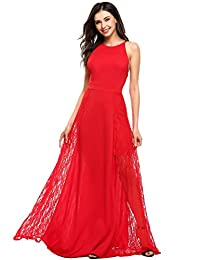ANGVNS Women's Floral Lace Sleeveless Long Bridesmaid Wedding Dress Evening Gowns