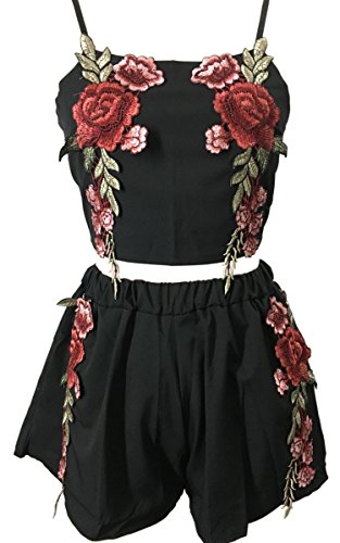 Angashion Women's Sexy Embroidered Floral Rose 2 Piece Crop Tops and Shorts Set,Black,US 4/Tag M