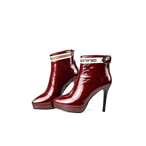 Martin Red De Zapatos Nuevas 2018 Alto Puntiagudas Invierno Botas Sexy Cuero Impermeable Plataforma Vino Feaona Tacones Altos Estación Europea Estilete Rojo Cortas Tacón F6Cwq5Bd