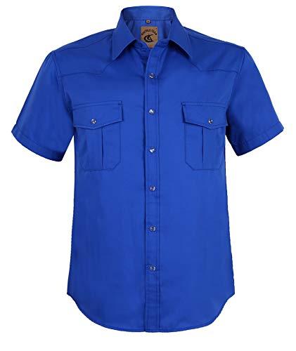 Coevals Club Men's Button Down Solid Short Sleeve Work Casual Shirt (Royal Blue #8, - Mens Sleeve Large Short Shirt