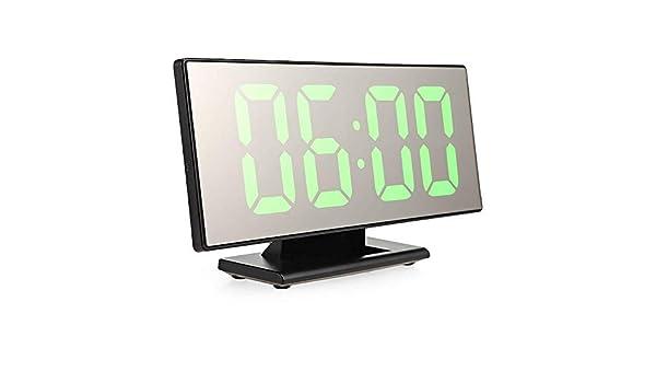 Despertador Digital LED,Siesta en el Espejo,Gran Pantalla de Cristal líquido,Mesa Nocturna,Reloj de pie,línea USB.: Amazon.es: Hogar