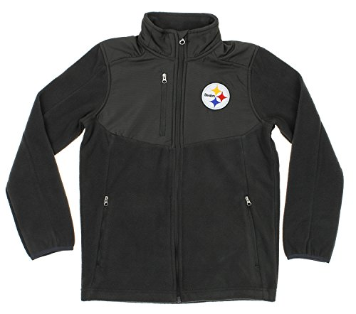 - Outerstuff NFL Youth Boys Tactical Polar Fleece Full Zip Jacket, Various Teams (Pittsburgh Steelers, Large (14-16))