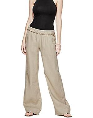 GUESS Women's Wide-Leg Linen Pants