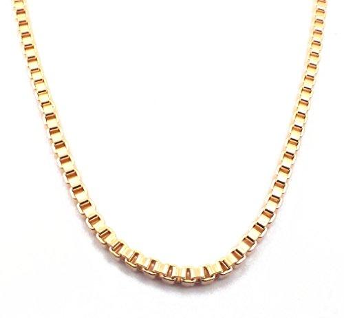 Collier ou Bracelet Chaine vénitiennes carrées 18ct or doublé jaune ou rosé, plaqué or ou argent 2,6mm, Longueur au choix, femme homme bijoux cadeaux de italien usine tendenze