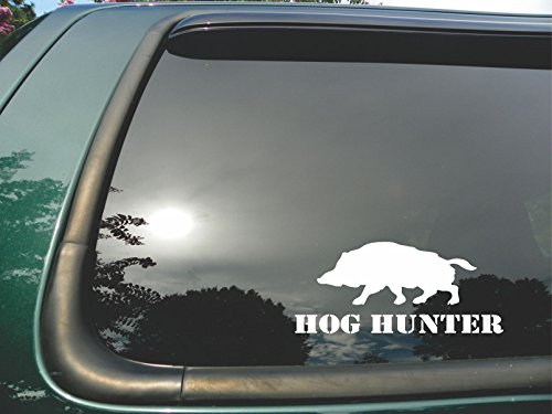 - Hog Hunter- Die Cut White Vinyl Window Decal/sticker for Car or Truck 3.5