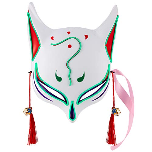 Apipi LED Light Up Fox Mask- Japanese Anime Glowing Kitsune Masks for Masquerade Cosplay Halloween Costume Party (Green)