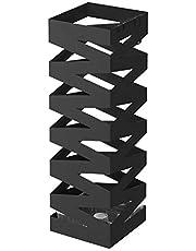 SONGMICS Metallparaplyställ, fyrkantigt paraplyhållare, med krokar och droppbricka, 15,5 x 15,5 x 49 cm, svart LUC16B