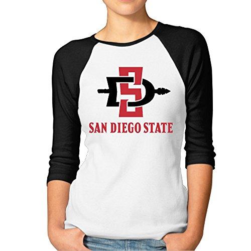 MBMH Women's San Diego State University Raglan Baseball T Shirt Black Size XXL (San Diego State Halloween Costumes)