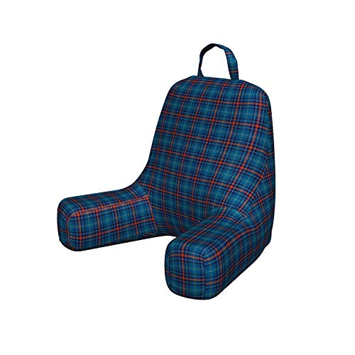 Ambesonne Checkered Foam Reading Pillow, Cultural Pattern with Thin Lines Irish Traditional Design in Blue Colors Shredded Foam Bedrest with Decorative Cover and Pocket, Small, Blue Navy Blue Red