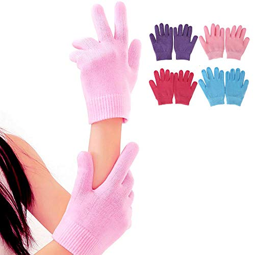 1Pair Gel Moisturizing Spa Gloves Soft Cotton with Thermoplastic Gel Repair and Heal Eczema Cracked Dry Skin ()