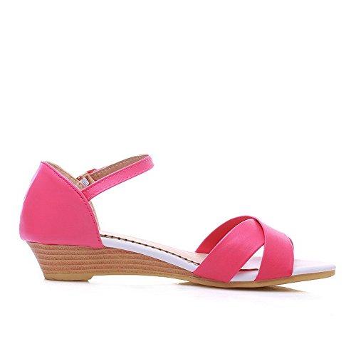 AalarDom Womens Open-Toe Low-Heels Soft Materials Solid Buckle Sandals Rosered-3cm quvTiRl2sM