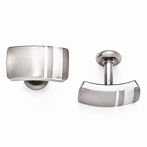 - Edward Mirell Titanium and Sterling Silver Brushed Cufflinks