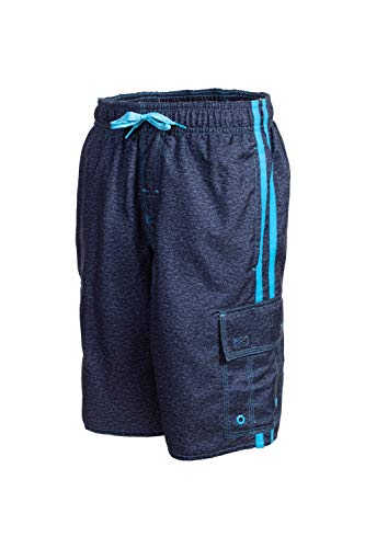 - LAGUNA Boys Locked in Striped Cargo Pocket Boardshorts Swim Trunks, UPF 50+, Navy/Blue, 14/16