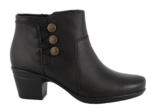 CLARKS Women's Emslie Monet Ankle Bootie, Black Leather, 11