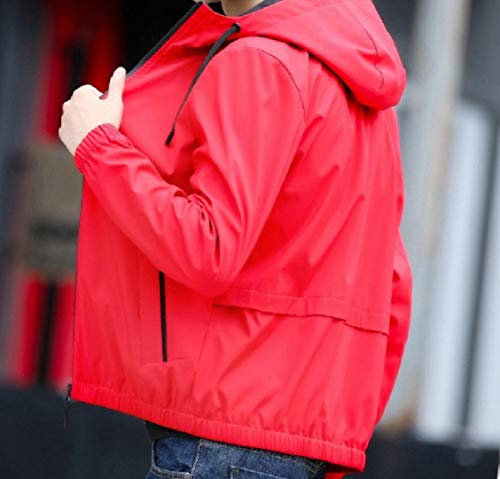 Solid EnergyMen Breathable Hooded Relaxed Comfort Coat Fit Red Sq11w4d