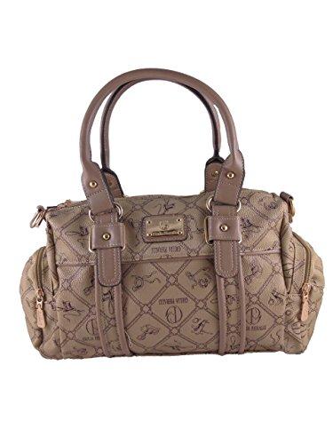 Giulia Pieralli Damen Fashion Style Glamour Designer Handtasche Damentasche Tasche Henkeltasche Kunstleder Neu (camel) camel pX9faupqD9