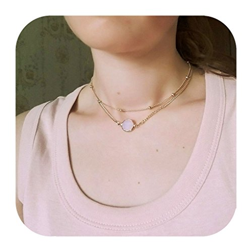 Layered Opal Pendant Necklaces Choker Necklaces Jewelry for Women Defiro