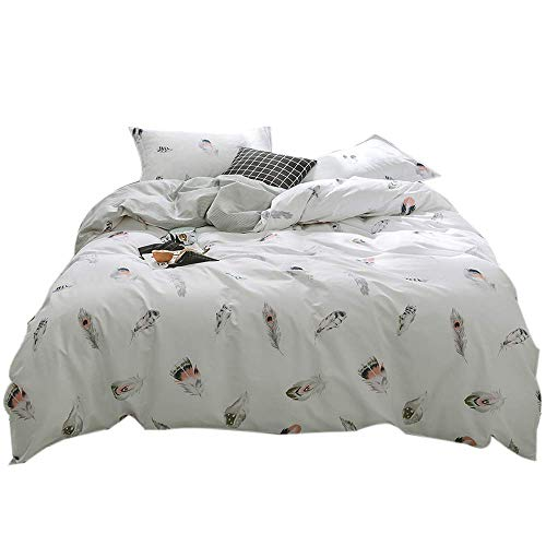 FenDie Soft Cotton Reversible Quilt Bedding Set 3 Pieces - 1 Duvet Cover with 2 Pillow Shams, Hypoallergenic Bed Cover Without Comforter (Twin, Feather)